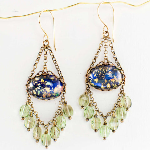 Blue green chandelier earrings with filigree, handmade in Seattle