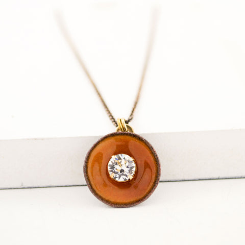 Papaya orange enamel pendant necklace