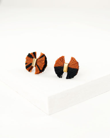 Camel brown black stud earrings | fringe earrings | fan earrings