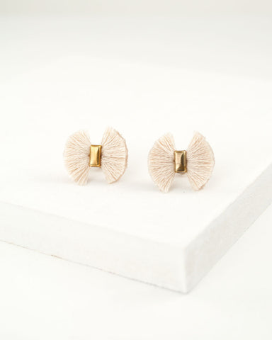 Fan earrings | dainty white stud earrings | fringe earrings