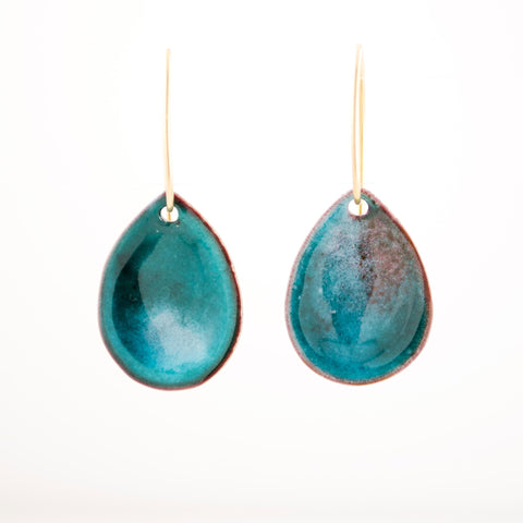 Turquoise teal enamel teardrop earrings | Unique handmade dangles