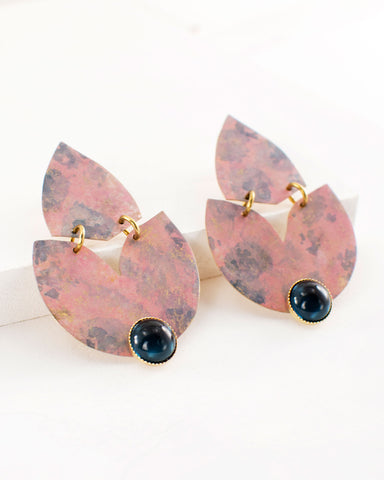Blush pink blue tulip earrings by Exquistry, Handmade in Seattle