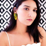 Yellow green floral beaded earrings | Vintage style stud dangles