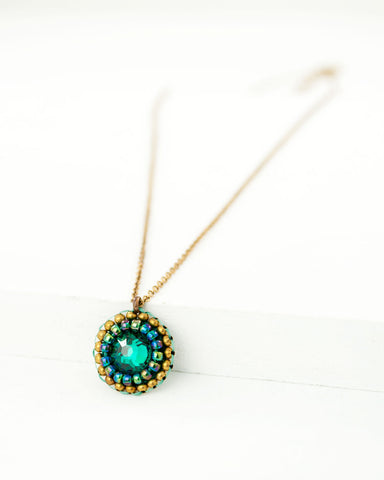 Emerald green swarovski delicate brass chain necklace