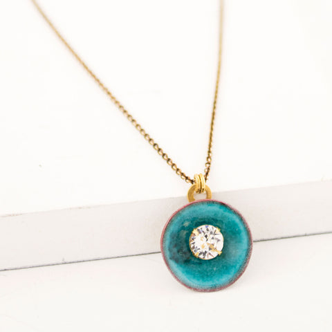Sea blue dainty pendant necklace