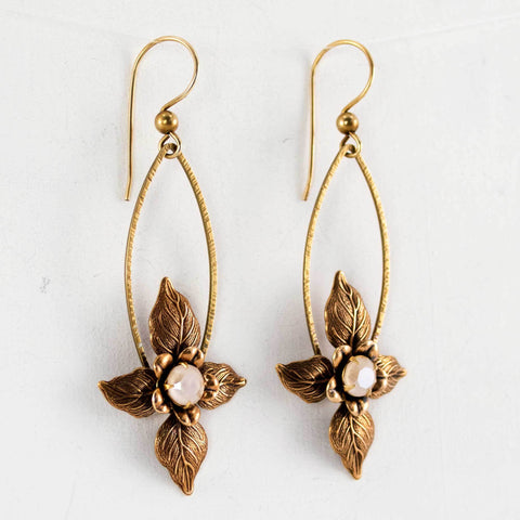 Antique brass flower leaves swarovski crystal earrings
