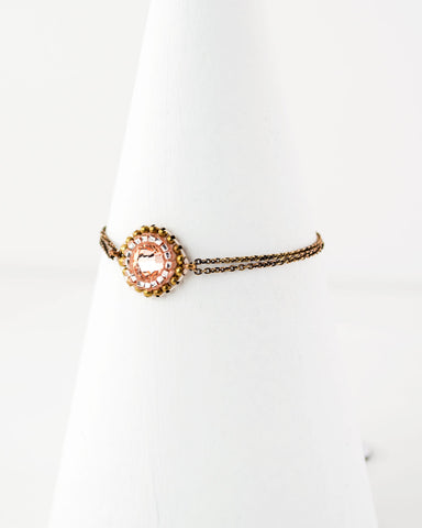 Dainty beaded peach and gold brass bracelet