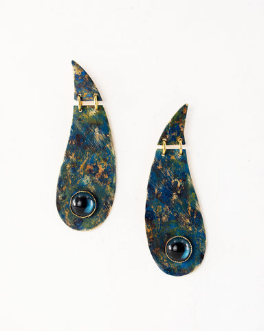 Paisley shaped brass earrings with colorful blue and green patina, handmade in Seattle