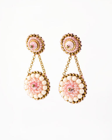 Vintage style pink gold beaded statement earrings