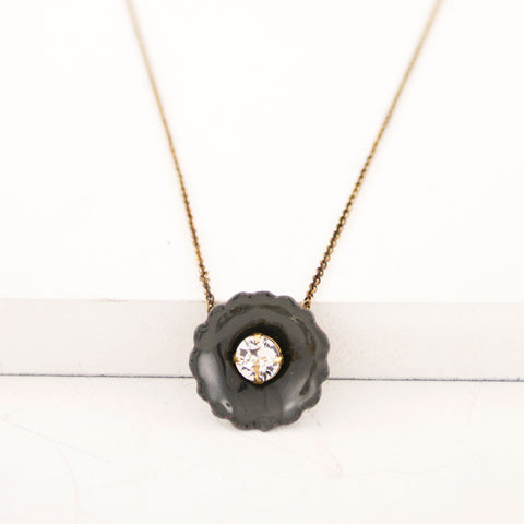 Dark gray flower necklace