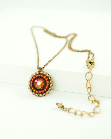 Burnt orange swarovski delicate necklace