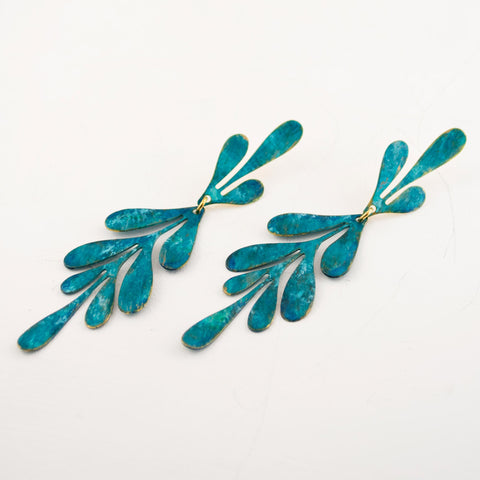 teal leaf earrings