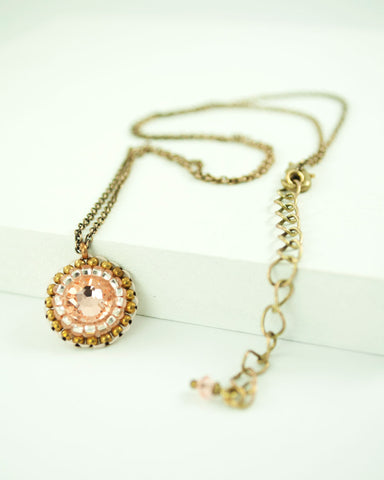 Peach swarovski brass chain delicate necklace