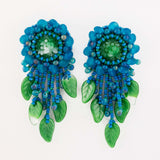 Teal green beaded statement earrings with vintage cabochon