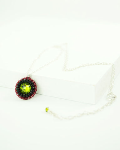 Olive green black red swarovski delicate necklace