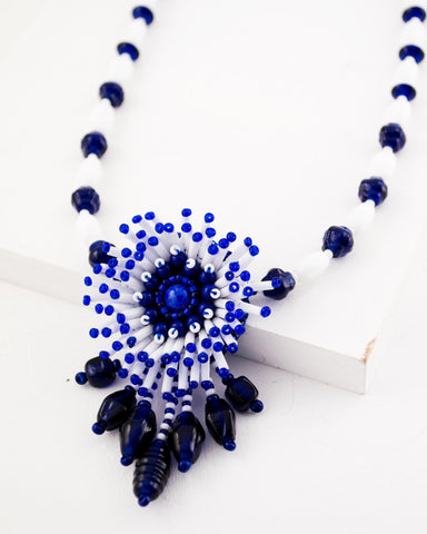 White blue necklace