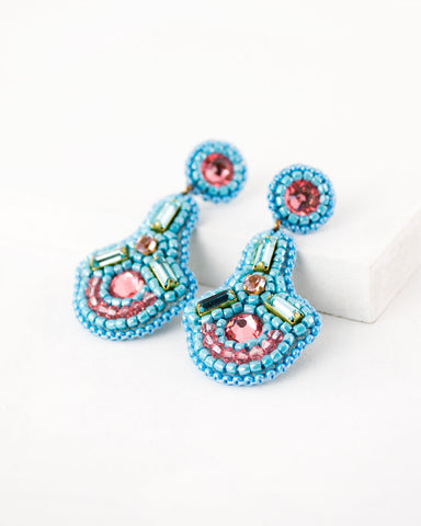 Beaded statement peach blue dangles with swarovski crystals