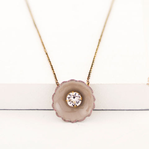 Gray beige pendant necklace
