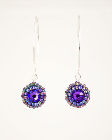 Purple gray dangle earrings with swarovski crystals