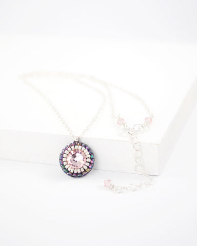 Gray blush swarovski delicate necklace