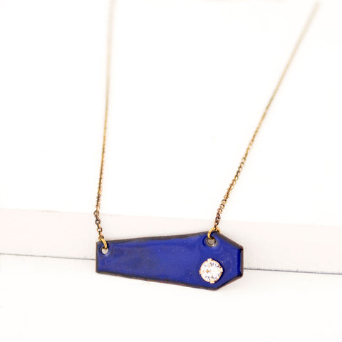 Geometric pendant necklace with cobalt blue enamel & clear crystal