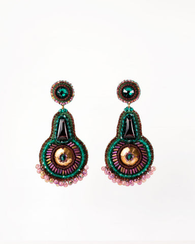 Hand beaded emerald green burgundy gold statement earrings