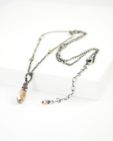 Silver bronze brown swarovski pendant necklace