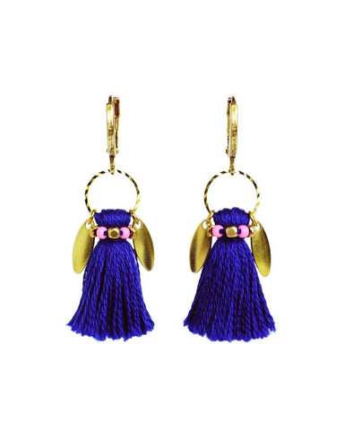 blue pink tassel earrings