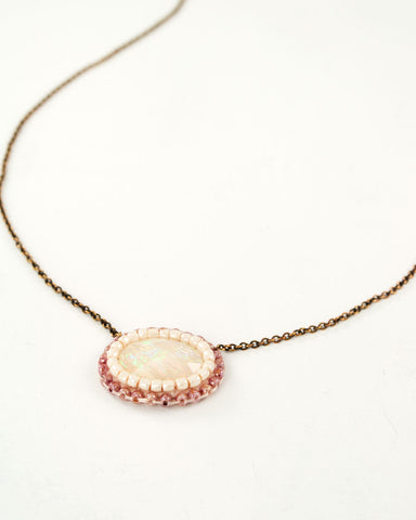 White rainbow opal necklace | gold brass necklace