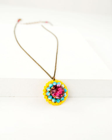 Pink yellow and turquoise swarovski pendant necklace