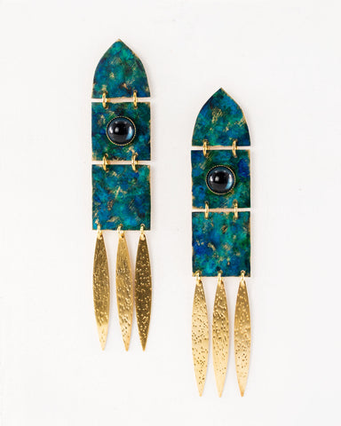 Green blue patina statement earrings by Exquistry, handmade in Seattle