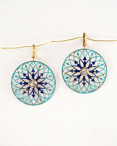 turquoise blue circle dangle earrings by exquistry, handmade in Seattle