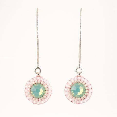 Baby pink teal dangle earrings with swarovski crystals