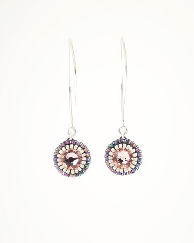 Gray blush dangle earrings with swarovski crystals