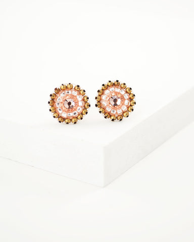Peach pink swarovski stud earrings