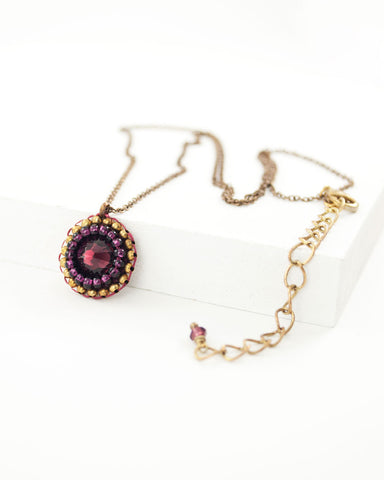 Burgundy swarovski delicate brass chain necklace