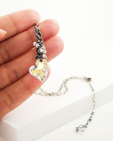 Heart necklace with swarovski crystal and silver