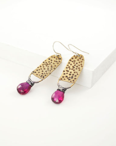 Brass and silver dangles with pink corundum quartz