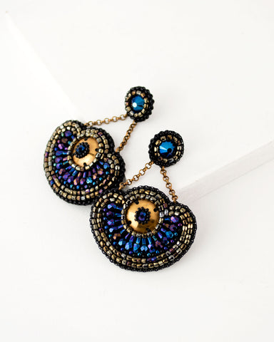 Great Gatsby inspired blue and gold statement beaded earrings