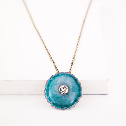 Circle necklace with clear crystal