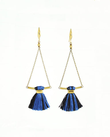 Blue black earrings | tassel earrings | gold brass earrings