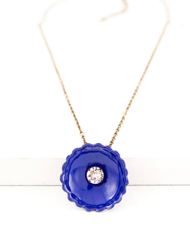 Cobalt blue flower necklace