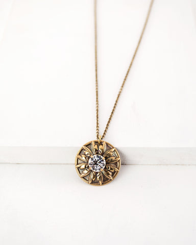 Vintage style gold tone brass necklace | custom rhinestone jewelry