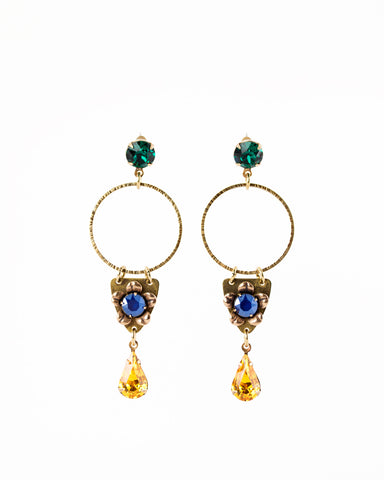 Vintage style rhinestone statement earrings | custom color earrings