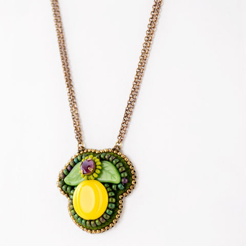 Colorful lemon and leaves hand beaded pendant necklace