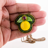 Lemon and leaves hand beaded pendant necklace