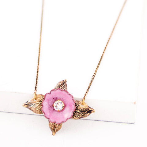 Pink enamel flower necklace