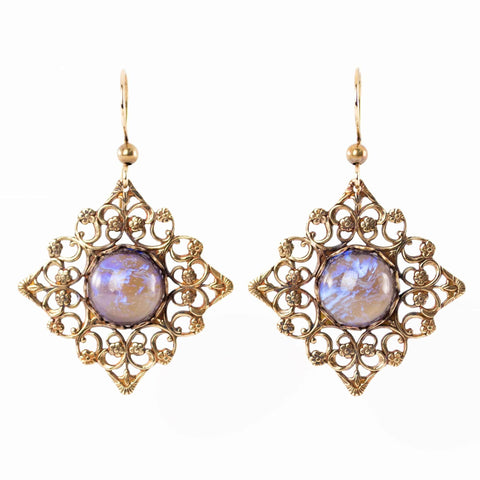 Purple and gold Victorian inspired dangle earrings