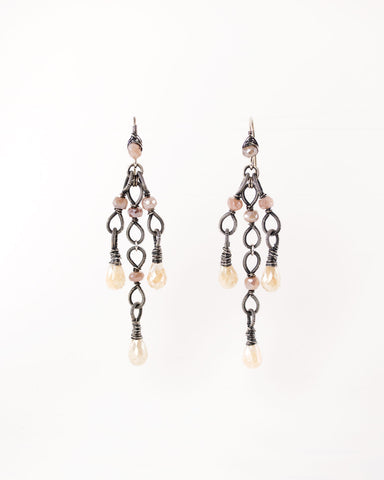 Silver dangle earrings with ivory and blush quartz