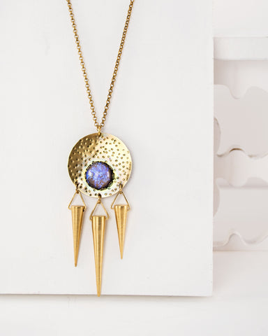 Celestial necklace | brass tribal spike and purple opal statement necklace